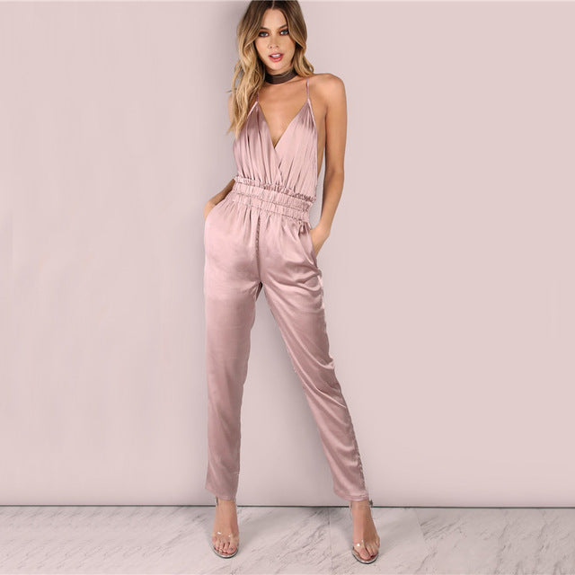 Women's Beautiful & Sexy Dusty Rose Pink Satin Backless Jumpsuit Open Back Halter Top Low Cut One Piece Fashion Romper - Free Shipping - Fashion-Beach.com