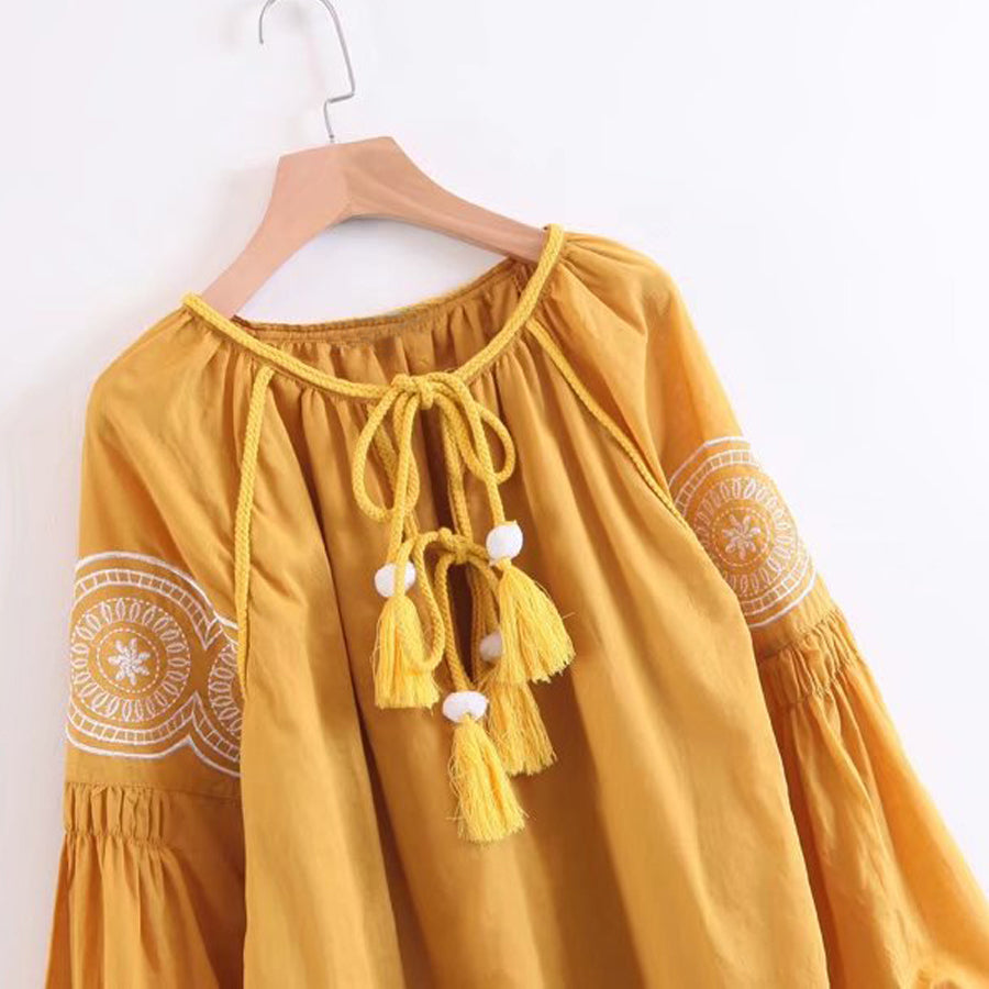 Women's Fun Embroidered Boho Long Sleeve Dress - Fashion-Beach.com