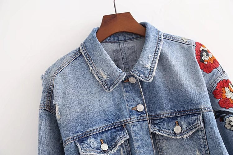 SALE Women's Fringe Boho Chic Denim Jacket - Sexy and Cute Embroidered Flower Tassel Grunge Hole Jean Coat - FREE Shipping - Fashion-Beach.com