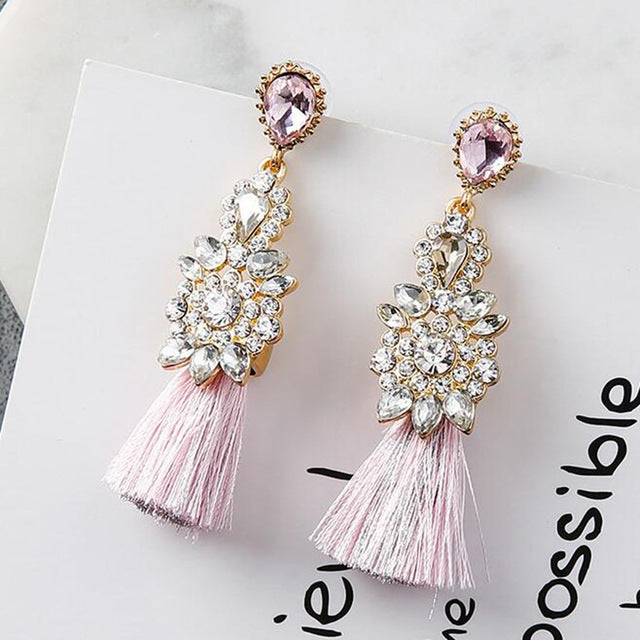 Women's Beautiful Long Tassel Rhinestone Earrings - Fashion-Beach.com