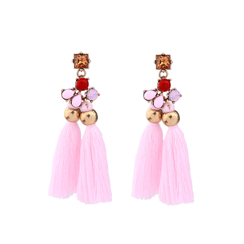 Women's Beautiful Rose Pink Boho Tassel Earrings - Fashion-Beach.com