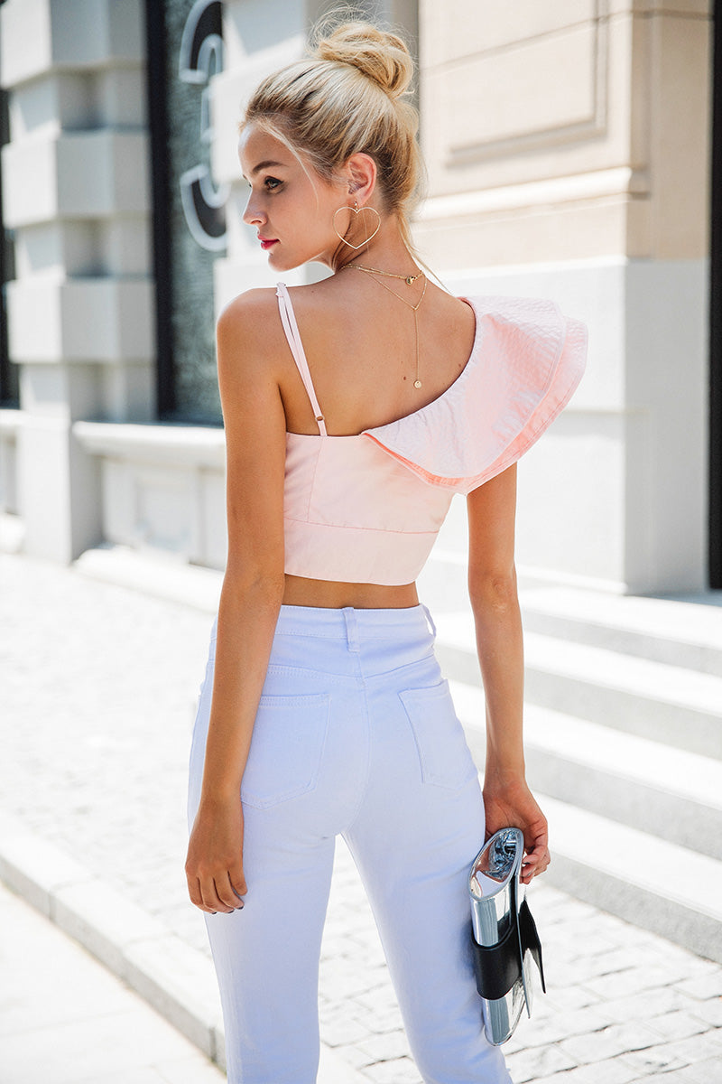 SALE Women's Beautiful One Shoulder Ruffled Mini Top Casual Chic Statement Belly Shirt Pink or Blue Sexy Summer Top - FREE Shipping - Fashion-Beach.com