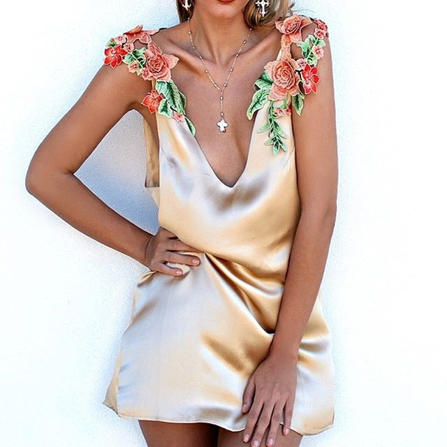 Women's Beautiful Mini Slip Dress Top With Rose Straps - Fashion-Beach.com