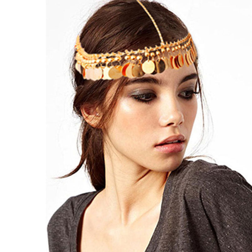 Women's Beautiful Gold Chain Tassel Charm Headband - Fashion-Beach.com