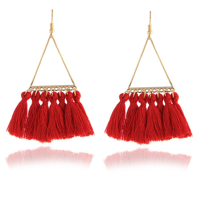 Women's Fun Boho Tassel Fringe Earrings - Fashion-Beach.com