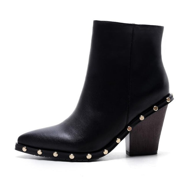Women's Beautiful Leather Studded Wedge Heel Ankle Boots - Fashion-Beach.com
