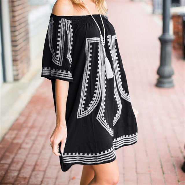 Women's Beautiful & Fun Off The Shoulder Boho Dress - Fashion-Beach.com