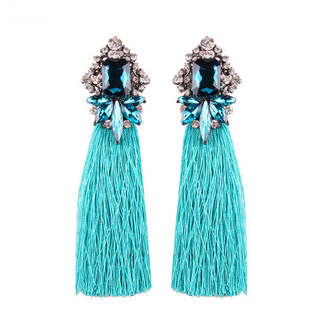 Women's Beautiful Long Rhinestone Boho Tassel Earrings Crystal Bling Fashion Fringe Bohemian Green Red Black Yellow or Aqua Blue Earrings - FREE Shipping - Fashion-Beach.com