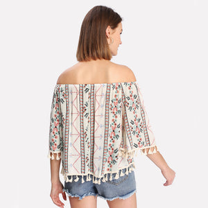 Women's Boho Off The Shoulders Tassel Shirt Strapless Fringe Flower Chic Bohemian Top - Free Shipping - Fashion-Beach.com