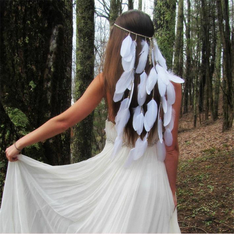 Women's Beautiful White Feather Boho Forehead Headband - Fashion-Beach.com