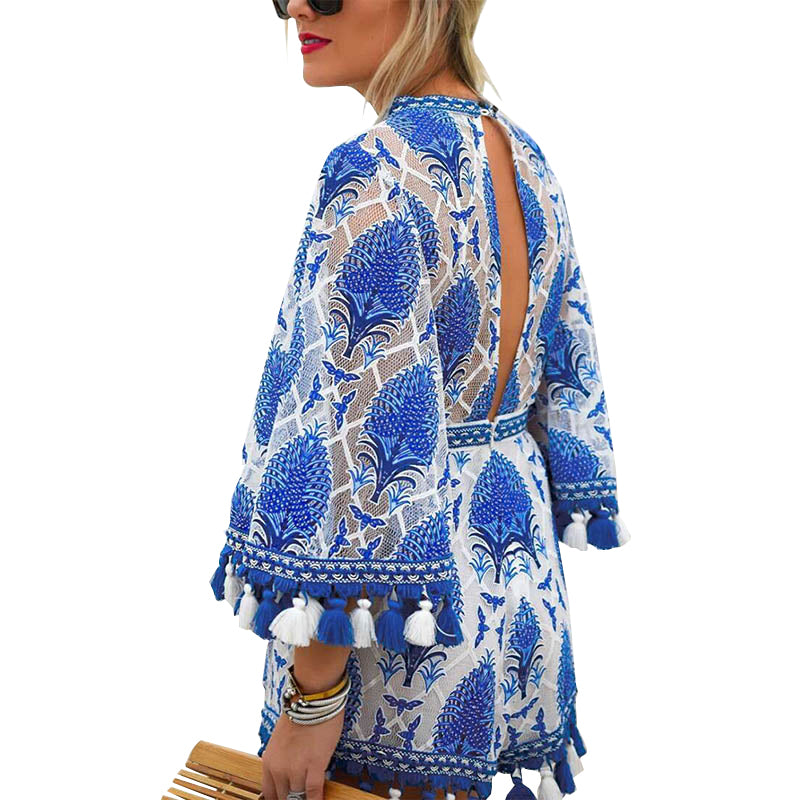 SALE Women's Beautiful Blue Boho Chic Tassel Shorts Jumpsuit Bohemian Island Style Fringe White Onesie Romper - FREE Shipping - Fashion-Beach.com