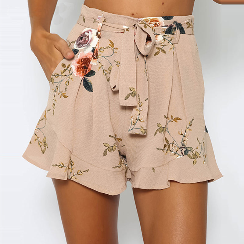 Stylish Women clothes Bandage pocket High Waist Boho Casual Polyester Floral print Beach Summer Shorts one pieces - Fashion-Beach.com