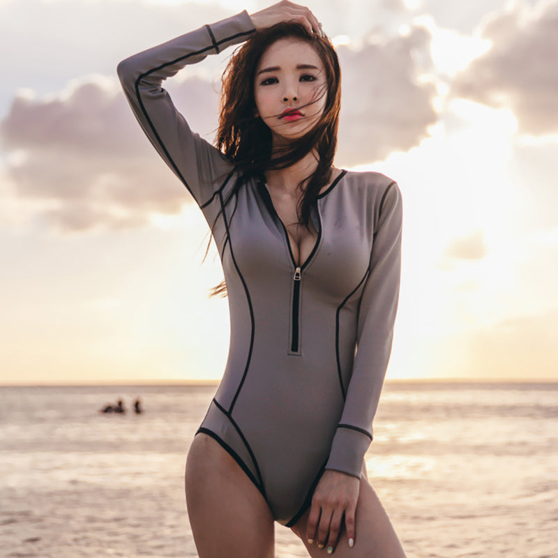 Women's Long Sleeve Sexy Zip Up Front Swimsuit - Fashion-Beach.com