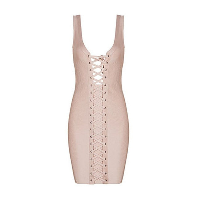 Women's Beautiful & Sexy Corset Tie Front Bandage Dress - Fashion-Beach.com