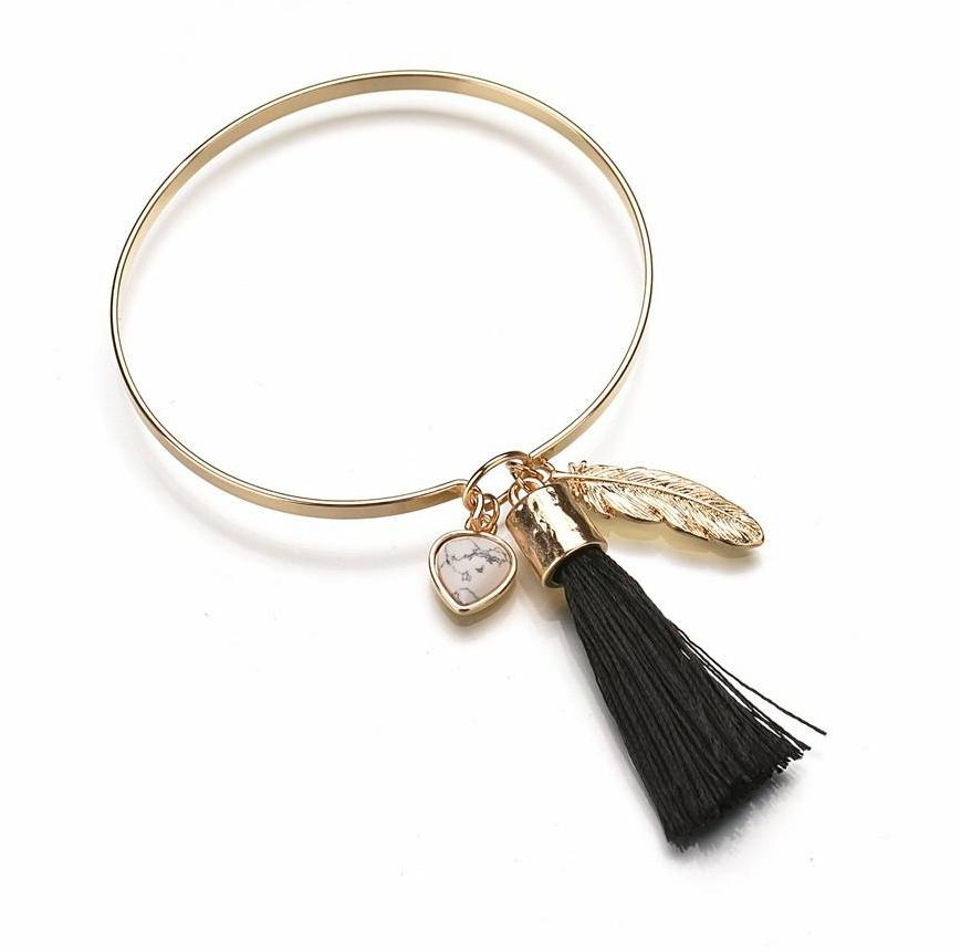 SALE Women's Gold Boho Chic Tassel Bangle Bracelet Copper Stone Heart and Feather Bohemian - FREE Shipping - Fashion-Beach.com