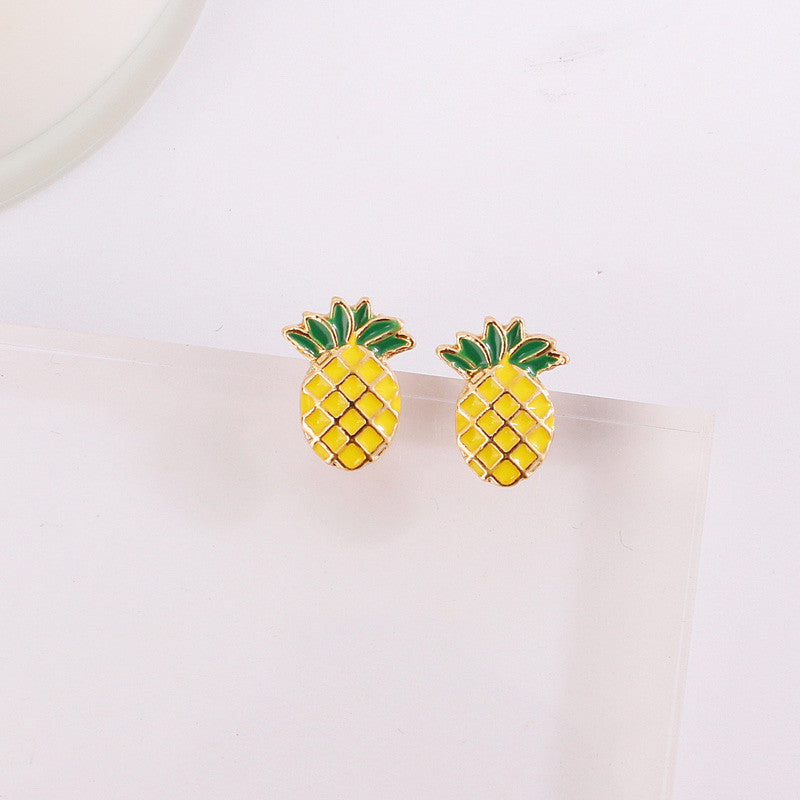 Women's Cute Hawaiian Pineapple Stud Earrings - Fashion-Beach.com