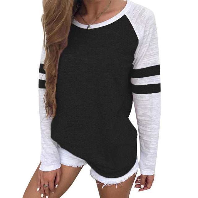 Women's Long Sleeve Sports Stripe T-Shirt - Fashion-Beach.com