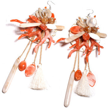 Women's Beautiful Large Tropical Coral Tassel Beach Earrings - Fashion-Beach.com