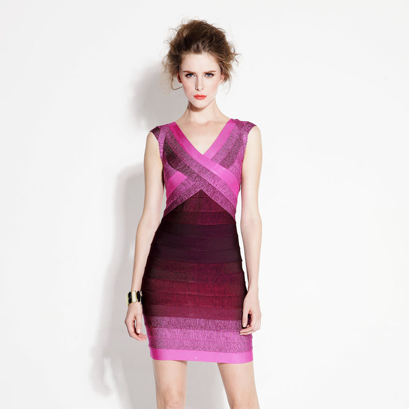 Women's Beautiful & Sexy Bright Pink Ombre Bodycon Party Dress - Fashion-Beach.com