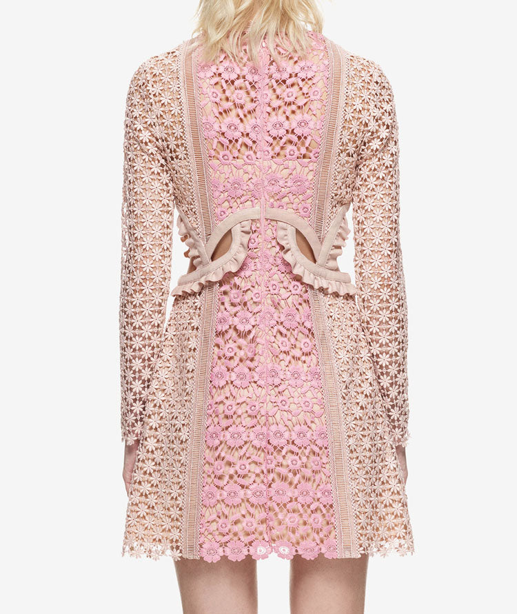 Women's Sexy Sheer Floral Lace Long Sleeved Runway Dress - Fashion-Beach.com