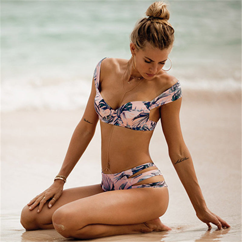 Women's Two Piece High Waisted Tropical Bikini Set - Fashion-Beach.com