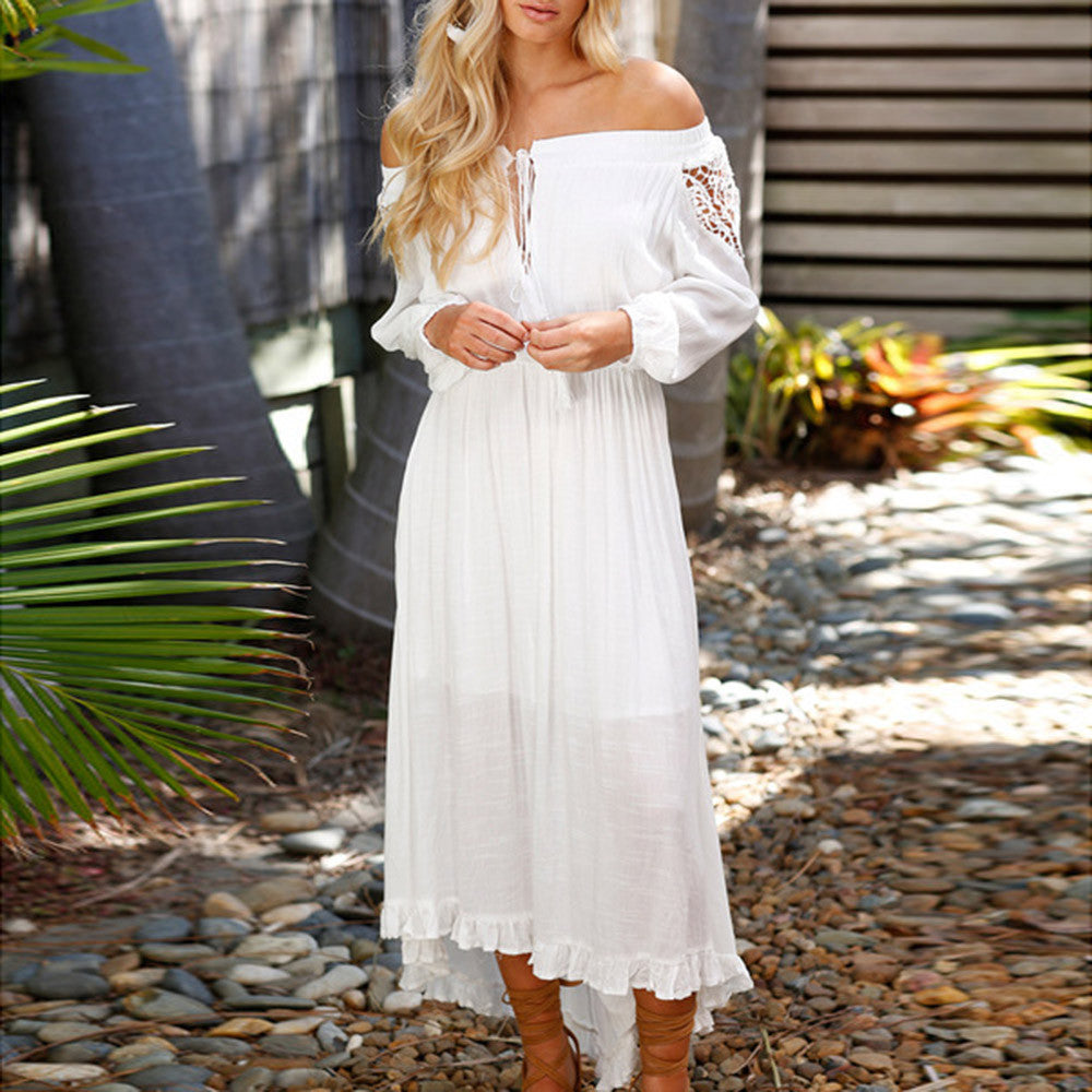 SALE Women's Boho Chic Off The Shoulders Maxi Dress - White or Coral Pink Long Sleeved Tassel Vintage Inspired Dress - FREE Shipping - Fashion-Beach.com