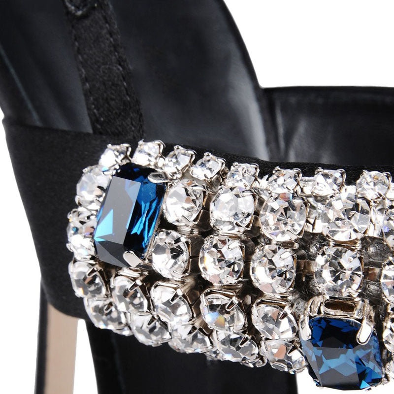 Women's Beautiful Sexy Black Ocean Blue Rhinestone High Heels - Fashion-Beach.com