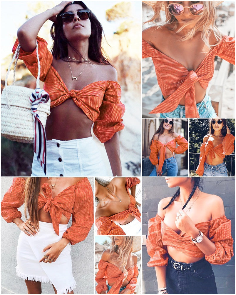 SALE Women's Beautiful and Sexy Boho Chic Long Sleeve Mini Top Orange White Polka Dot Off The Shoulders Belly Shirt Bohemian Blouse - FREE Shipping - Fashion-Beach.com