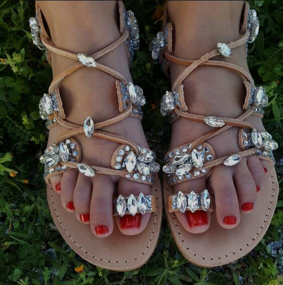 Women's Luxury Boho Rhinestone Crystal Gladiator Sandals - Fashion-Beach.com