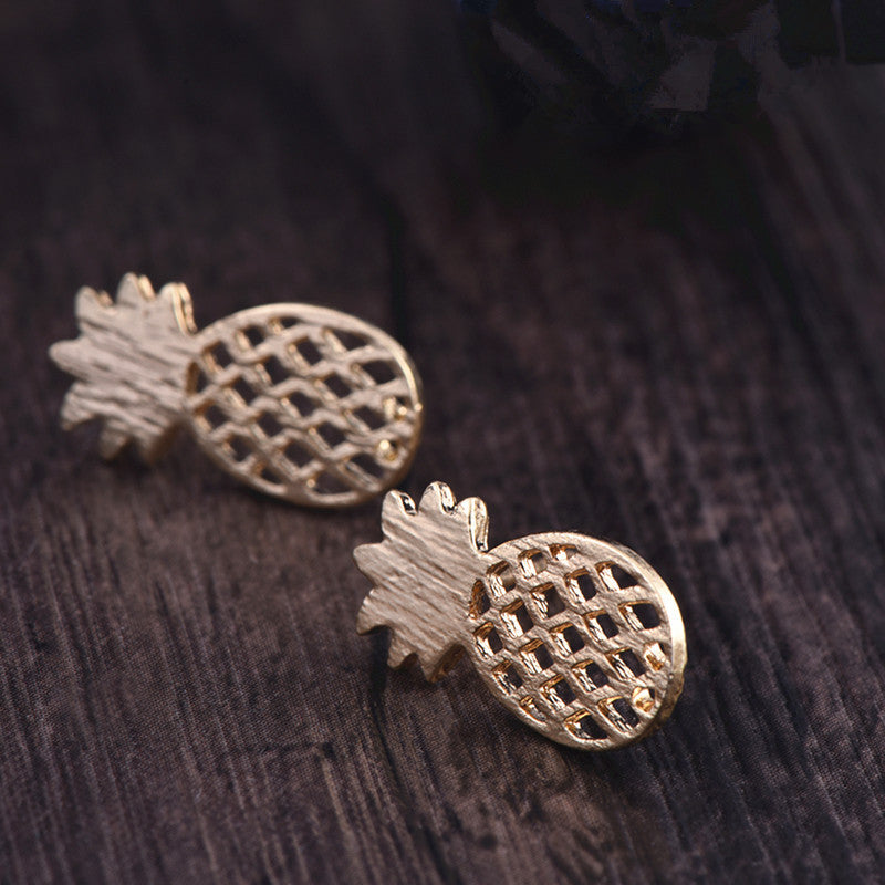 H8 Fashion Animal Pineapple Stud Earrings Cute Deer Arrow Cat Design Earrings For Women Silver Gold Color Earrings Wholesale - Fashion-Beach.com
