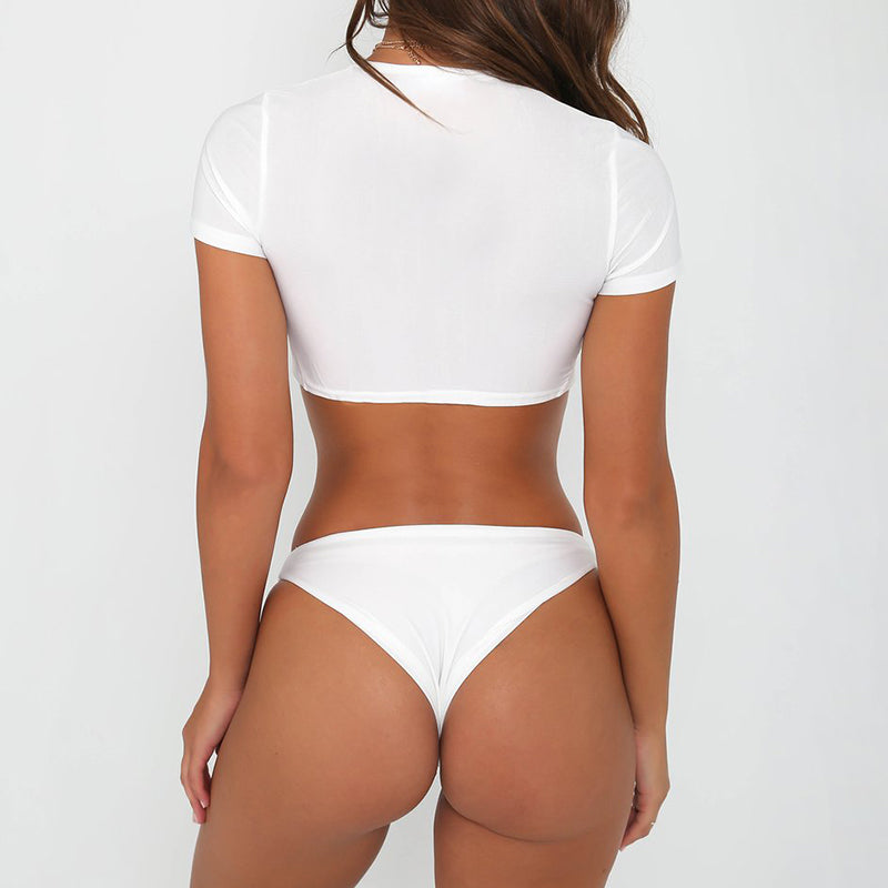 SALE Women's Sexy Two Piece White Thong Bikini Set High Cut Brazilian Cheeky Swimsuit Crop Top & Bottoms - FREE Shipping - Fashion-Beach.com