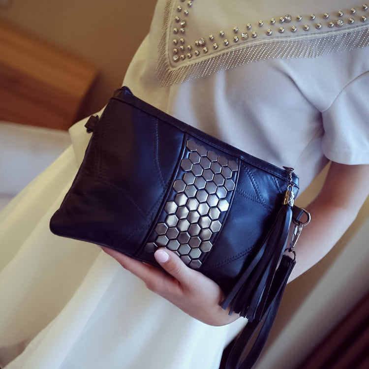 SALE Women's Black Studded Genuine Leather Clutch Purse Crossbody Shoulder Strap Silver Embellished Tassel Handbag - FREE Shipping - Fashion-Beach.com