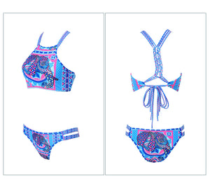 Women's Lace Up Back Blue Bikini Set - Fashion-Beach.com