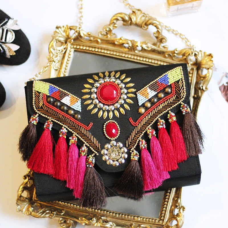 SALE Women's Beautiful Boho Tribal Tassel Clutch NEW Beaded Fringe Ethnic Black Shoulder Purse