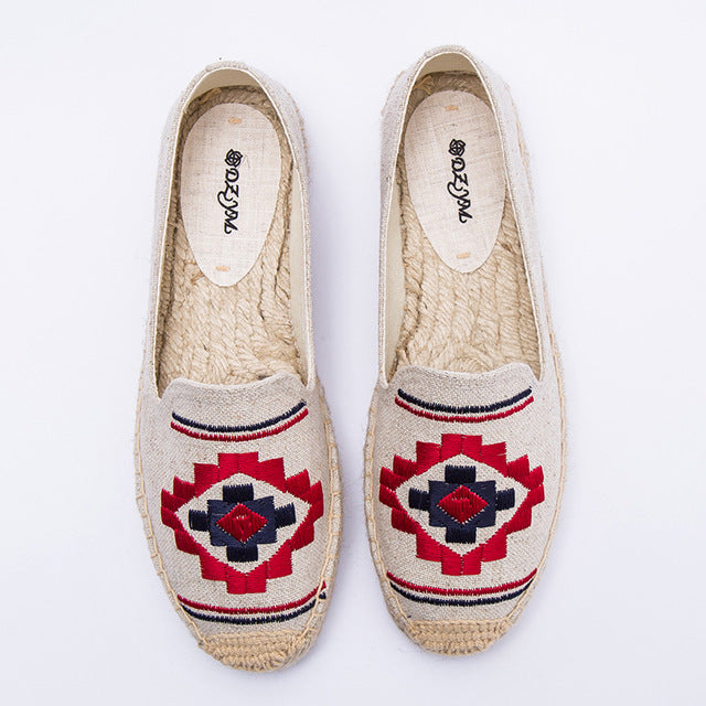 SALE Women's Boho Chic Cabo Espadrille Flat Loafers - Chevron Tribal Bohemian Closed Toe Canvas Deck Shoes - Red Navy Blue Beige - Tropical Beach - FREE Shipping - Fashion-Beach.com