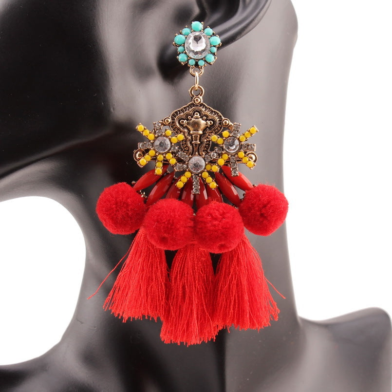 SALE Women's Large Boho Tassel Pendant Earrings Red Blue or Black Pompom Fringe Bohemian Runway Fashion Statement Earrings - FREE Shipping - Fashion-Beach.com