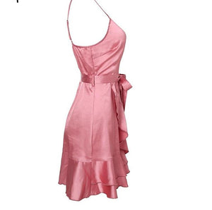 SALE Women's Beautiful Sexy Spaghetti Strap Mini Fashion Summer Dress Pink or Blue Silky Satin Party V-neck Dress - FREE Shipping - Fashion-Beach.com