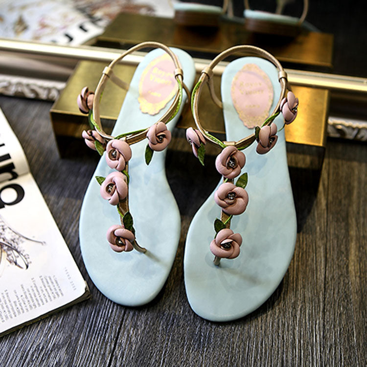 Women's Beautiful T-Strap Leather Rose Sandals - Fashion-Beach.com
