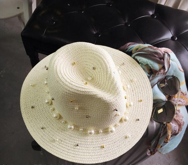 Ymsaid 2018 New Summer British pearl beading flat brimmed straw hat Shading sun hat Lady beach hat - Fashion-Beach.com