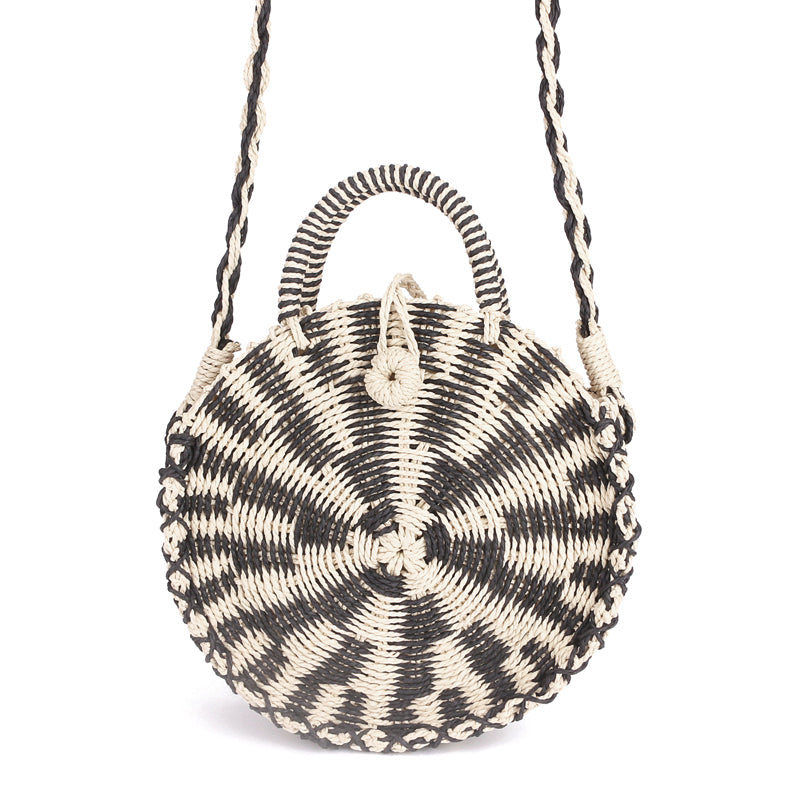 Women's Round Boho Chic Woven Straw Purse