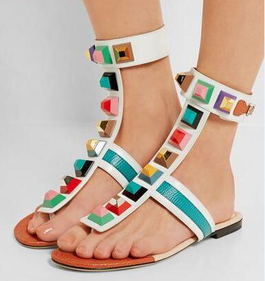 Women's Contemporary Geometric Gladiator Sandals - Fashion-Beach.com