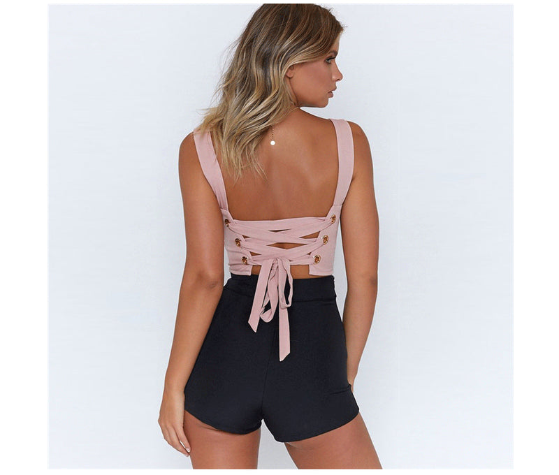 Women's Sexy Pink Corset Back Crop Top - Fashion-Beach.com