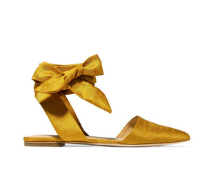 Women's Beautiful Silk Ankle Wrap Flat Pointed Toe Sandals - Fashion-Beach.com