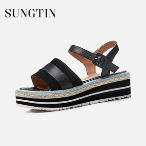 Sungtin Classic Flats Platform Sandals Women Espadrilles Handmade Casual Ankle Strap Sandals Black Lady Summer Suede Shoes