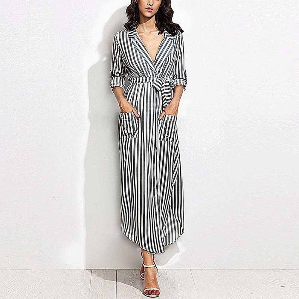 SALE Women's Beautiful Long Monaco Style Beach Dress - Vertical Striped Belted Nautical Fashion Shirt Dress - Blue White Black - FREE Shipping On All Boho Chic Summer Dresses - Fashion-beach.com