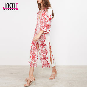 Jastie Red Embroidered Long Tunic Midi Dress Caftan Slits and Pom Pom Trim Chic Beach Boho Dress Summer Dresses Women Vestidos - Fashion-Beach.com