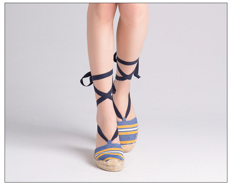 SALE Women's Beautiful Striped Espadrille Lace Up Flats - Jute Canvas Gladiator Ankle Wrap Deck Loafer Sandals - FREE Shipping On All Shoes - www.Fashion-Beach.com