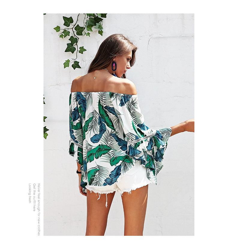 SALE Women's Beautiful and Sexy Off The Shoulders Tropical Palm Leaf Top Botanical Banana Leaf Strapless Boho Island Tassel Fringe Blouse - Free Shipping - Fashion-Beach.com