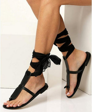 Women's Sexy Boho Gladiator Ribbon Ankle Wrap Sandals - Fashion-Beach.com