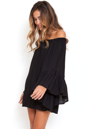 SALE Women's Sexy Off The Shoulders Sheer Boho Kaftan Swimsuit Cover Up Batwing Flare Long Sleeve Swimwear Dress Cover - Fashion-Beach.com